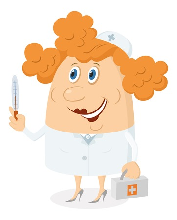 Nurse, woman doctor, cartoon character in uniform with first-aid kit and thermometer  Vector Vector