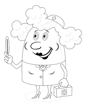 Nurse, woman doctor, cartoon character in uniform with first-aid kit and thermometer, black contour on white background  Vector Vector
