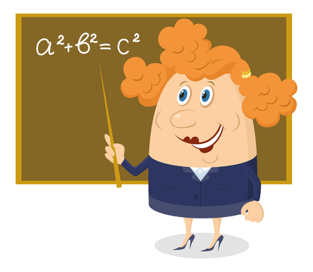 School teacher showing with her pointer on blackboard with Pythagorean theorem, funny cartoon character. Vector Vector