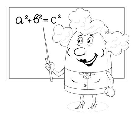 teorema: Maestro de escuela que muestra con su puntero en la pizarra con el teorema de Pit�goras, car�cter divertido de la historieta, el contorno negro sobre fondo blanco.