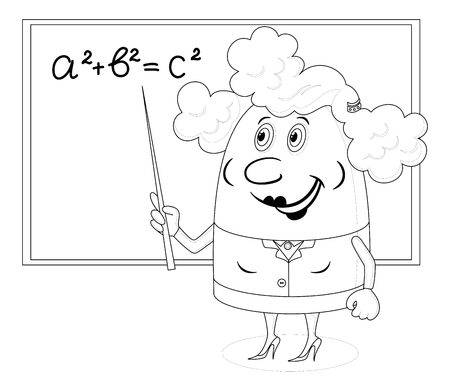 theorem: School teacher showing with her pointer on blackboard with Pythagorean theorem, funny cartoon character, black contour on white background.