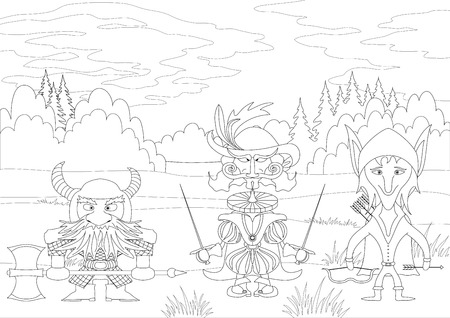 Fantasy brave heroes: elf archer, count fencer and dwarf warrior standing in forest, funny comic cartoon characters, black contour on white background.  Vector