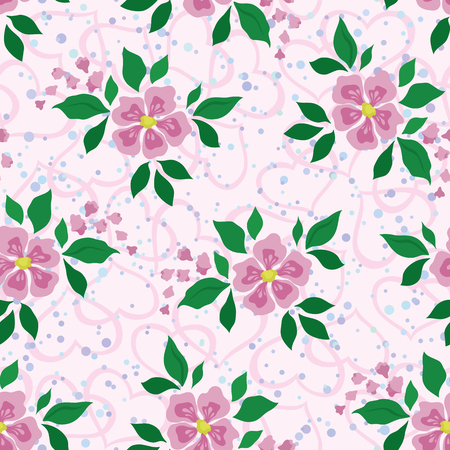 Abstract floral seamless background with pink flowers, green leaves, symbolical hearts and confetti. Vector Vector