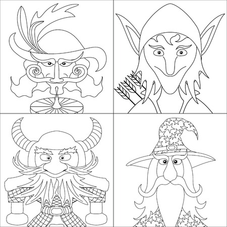 Avatar faces of fantasy brave heroes: elf, dwarf, wizard and noble cavalier, funny comic cartoon user icons, set, black contour on white background. Vector Vector