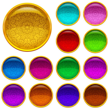 Set of web buttons with colorful gems and golden frames, eps10, contains transparencies. Vector Vector
