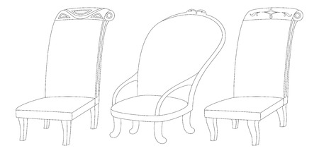 Set of decorated armchairs of various forms, black contour isolated on white background. Vector Vector