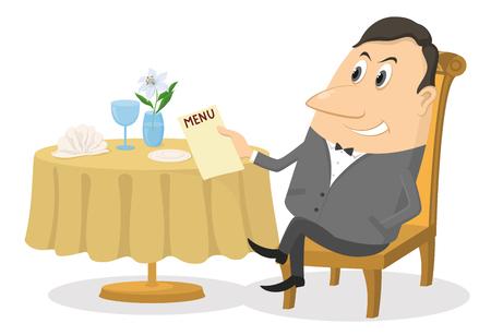 respectable: Respectable young gentleman sitting behind restaurant table and reading menu, funny cartoon character. Vector Illustration