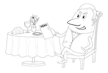 respectable: Respectable young gentleman sitting behind restaurant table and reading menu, funny cartoon character, black contour on white background. Vector