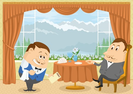 mountain view: Respectable gentleman sitting in a restaurant with Mountain View near the table while waiter with a bow gives him menu, funny cartoon illustration. Vector
