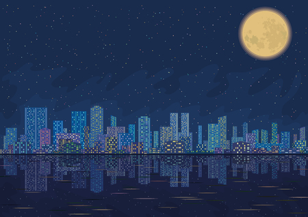 Urban background, night cityscape with skyscrapers, starry sky reflecting in blue sea and big bright moon. Vector