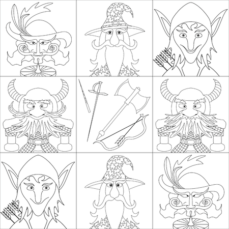 Avatar faces of fantasy brave heroes: elf, dwarf, wizard and noble cavalier Vector