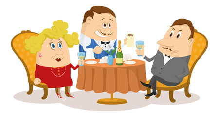 respectable:  Respectable gentleman and fat lady in red raising a toast, while waiter offering menu, funny cartoon illustration. Vector Illustration
