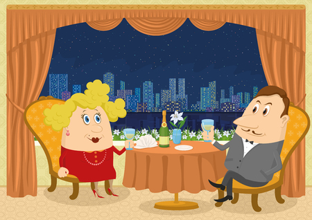 toasting wine: Respectable gentleman and fat lady in red sitting near the table in a restaurant with view on night city and raising a toast, funny cartoon illustration.