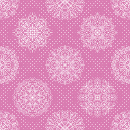 Abstract seamless background with symbolical floral white patterns and circles on pink.  Vector