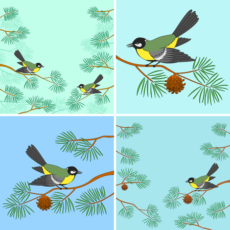 titmouse:  birds titmouse sitting on pine branches against sky.  Illustration