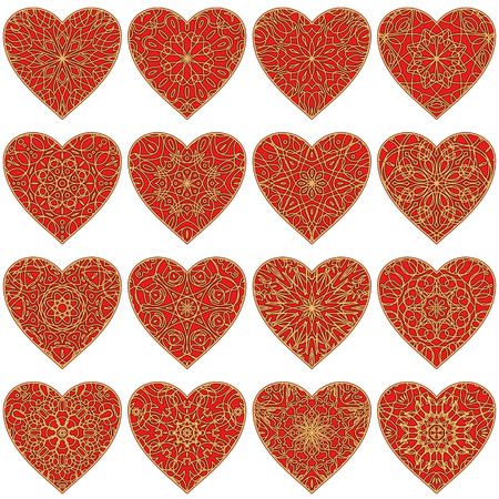 Set of valentine hearts with abstract patterns of red and gold colors Vector