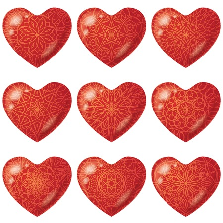 Valentine red hearts, holiday set of beautiful love symbol icons with various patterns. Vector