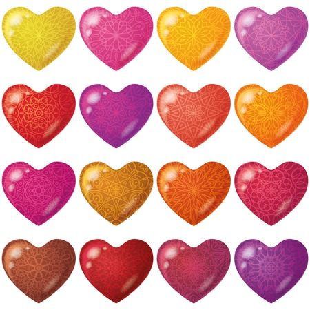 cardia: Valentine hearts, holiday set of beautiful love symbol icons of various colors with patterns.
