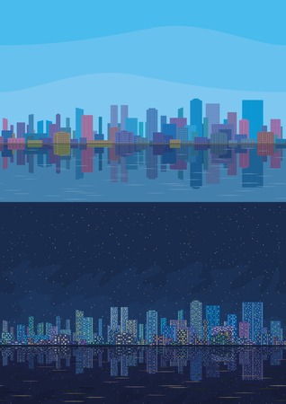 Seamless urban background, set of night and day cityscape with skyscrapers, under sky reflecting in blue sea. Vector
