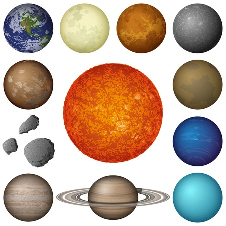 Space set of isolated planets and objects of Solar System: Sun, Earth, Moon, Venus, Mercury, Mars, Pluto, Phobos, Deimos, Gaspra, Neptune, Jupiter, Saturnand Uranus.  photo