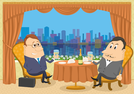 Two respectable gentleman sitting near the table in a restaurant with view on big city and raising a toast, celebrating a successful transaction, funny cartoon illustration.  Vector