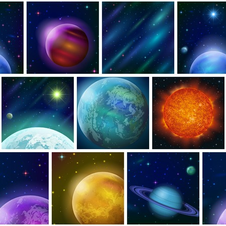 cosmology: Space seamless background with various fantastic planets and stars.  Stock Photo