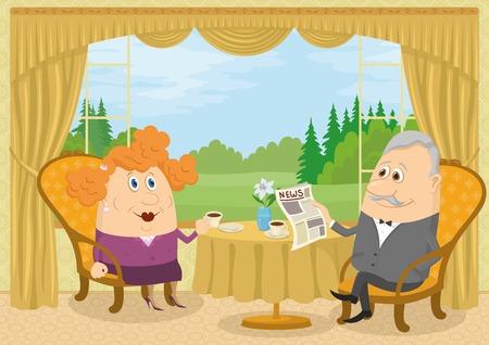 oude krant: Familie van de oude man en dikke vrouw om thuis te zitten in de buurt van de tafel voor het raam met uitzicht op het bos glade en het drinken van koffie