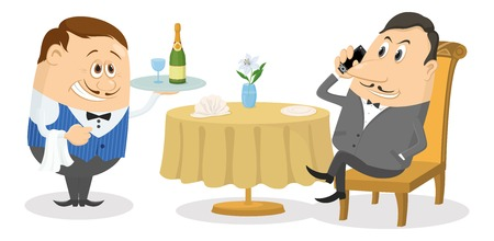 lunch table: Respectable man sitting behind restaurant table while waiter gives him a tray with champagne, funny cartoon illustration. Vector
