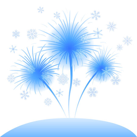Blue flowers dandelions of snowflakes, abstract Christmas illustration for holiday web design. Eps10, contains transparencies. Vector Vector