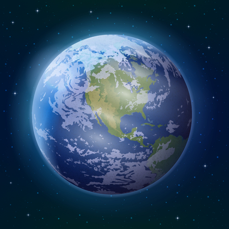 Space background, realistic planet mother Earth and stars.  photo