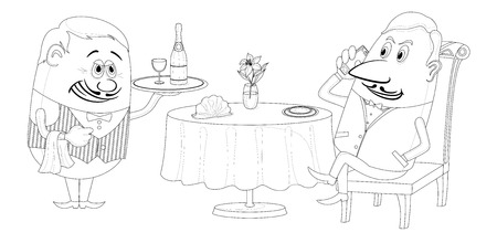 Respectable man sitting behind restaurant table while waiter gives him a tray with champagne, funny cartoon illustration, black contour on white background.  Vector