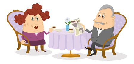 Family of old man and fat woman sitting near the table and drinking coffee, funny cartoon illustration. Vector Vector