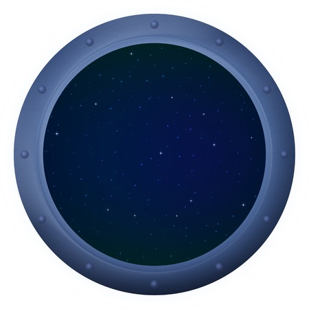 Spaceship window porthole with space, dark blue sky and stars photo