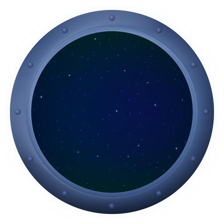 Spaceship window porthole with space, dark blue sky and stars Stock Photo - 27912525
