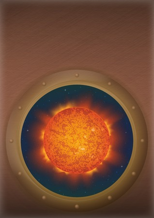 Space ship round window porthole with sun and stars on the wall with place for text.