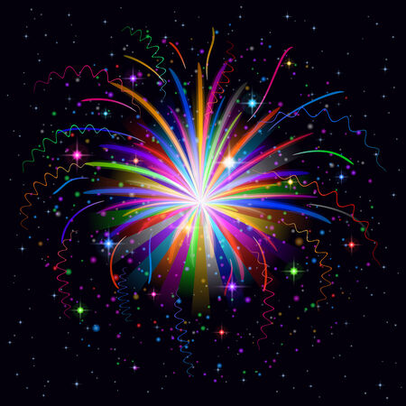 Firework, holiday colorful background of bright colors on black, element for web design. Eps10, contains transparencies. Vector Vector