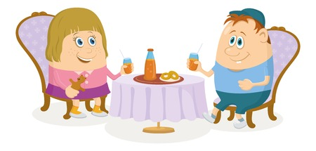 Two little children, boy and girl sitting near table, drinking juice and eating buns, funny cartoon illustration, isolated. Vector Vector