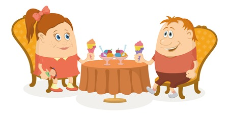 eating ice cream: Two little children, boy and girl sitting near table and eating ice cream, funny cartoon illustration, isolated. Vector Illustration
