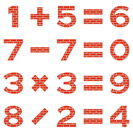 addition: Set of numbers and signs in mathematical equations, addition, subtraction, multiplication and division, decorated with red brick, elements for design. Vector