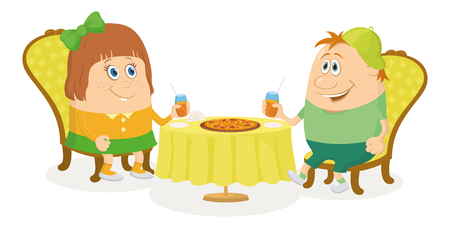 Two little children, boy and girl sitting near table, drinking juice and eating pizza, funny cartoon illustration, isolated. Vector Vector