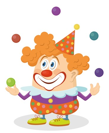 Cheerful kind clown in colorful clothes juggling balls, holiday illustration, funny cartoon character, isolated on white background. Vector Stock Vector - 28119389