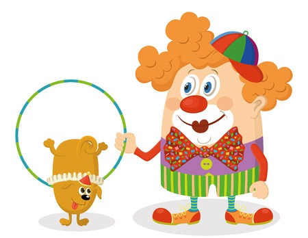 Cheerful kind circus clown in colorful clothes with hoop Vector