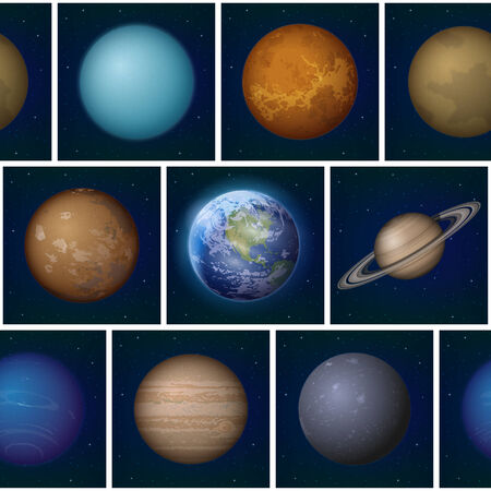 Space seamless background, split into separate parts with set of Solar System planets photo