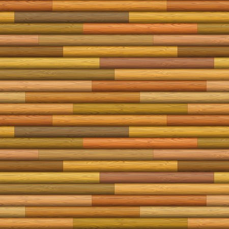 Natural wooden timbered wall texture from logs of different colors, seamless background. Vector Vector