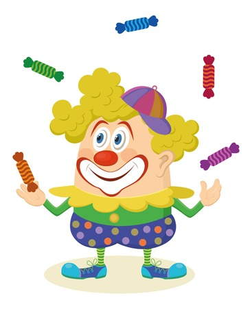 Cheerful kind circus clown in colorful clothes juggling candies, holiday illustration, funny cartoon character, isolated on white background.  Vector