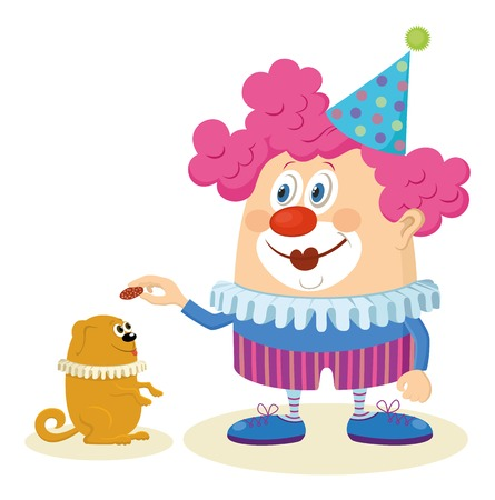 Cheerful kind circus clown in colorful clothes with trained dog, holiday illustration, funny cartoon character isolated on white background.