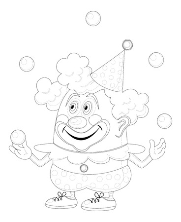 Cheerful kind circus clown juggling balls, holiday illustration, funny cartoon character, black contour isolated on white background. Vector Vector