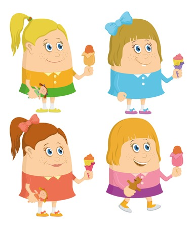 eating ice cream: Set of little girls smiling and eating ice cream, funny cartoon characters, isolated. Vector Illustration