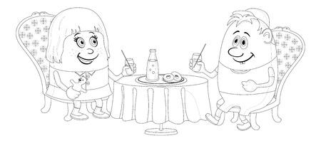 Two little children, boy and girl sitting near table, drinking juice and eating buns, funny cartoon illustration, black contour isolated on white background.  Vector