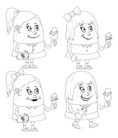 eating ice cream: Set of little girls smiling and eating ice cream, funny cartoon characters, black contour isolated on white background. Vector